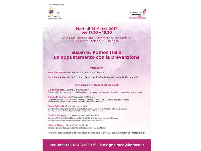 Susan G. Komen: un appuntamento con la prevenzione